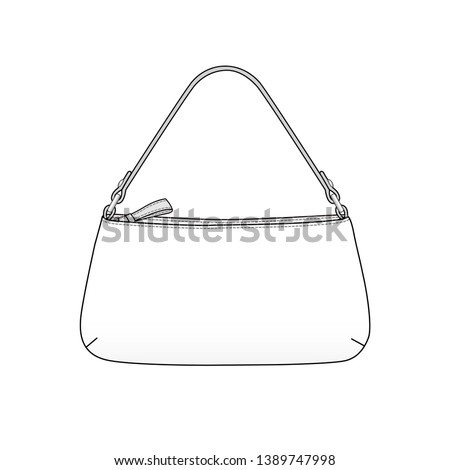 clutch bag outline, daily clutch purse with handle, vector illustration sketch template isolated on white background Foto stock ©