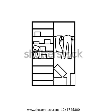 Clutter in the closet icon. Element of chaos for mobile concept and web apps icon. Thin line icon for website design and development, app development