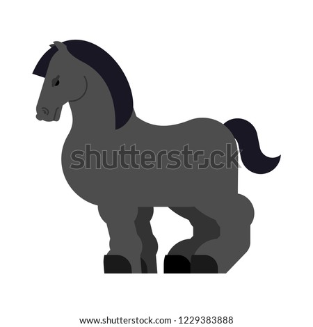 Clydesdale black Strong heavy horse. Draft Shire Horse. Power big steed. Cartoon animal vector