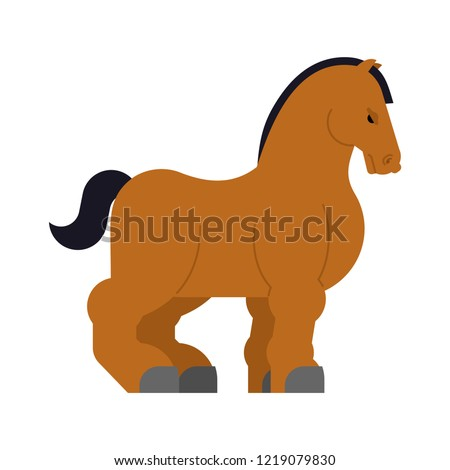 Clydesdale Strong heavy horse. Draft Shire Horse. Power big steed. Cartoon animal vector