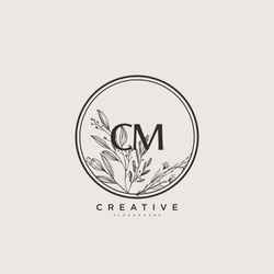 CM Beauty vector initial logo art, handwriting logo of initial signature, wedding, fashion, jewerly, boutique, floral and botanical with creative template for any company or business.