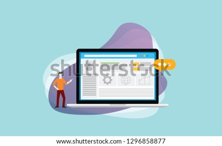 cms content management system admin template to manage website content and data media - vector illustration