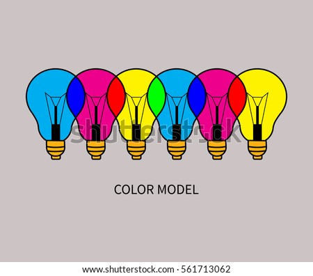 CMYK and RGB. Example of addictive and substractive color model. Colorful overlapping lights. Vector illustration