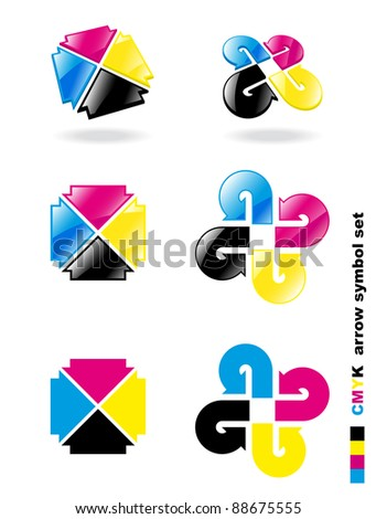 CMYK arrow symbol set. Vector illustration.