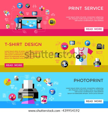 CMYK banner set with headlines print service t shirt design an photoprint vector illustration