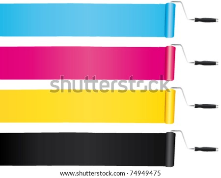 CMYK CMJN paint rollers. print and paint concept backgrounds.