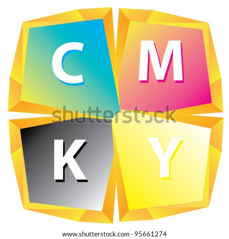 CMYK color abstract figure. vector illustration.