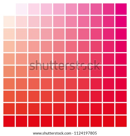 cmyk color chart to use in prepress and printing. Used to pick color swatches. Red and magenta are base colors and others has been created combining them. tints and ink catalog for graphic arts