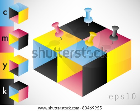 CMYK color profile blocks with drawing pins