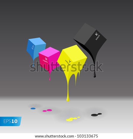 CMYK cubes with blobs on grey background, vector EPS 10 illustration.