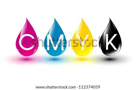 CMYK  ink drops - stock vector