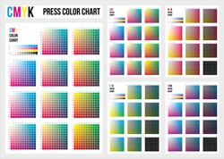 CMYK press color chart. CMYK process printing match. Cyan, magenta, yellow, black are base colors and others has been created combining them. To use in prepress and the press to choose color samples