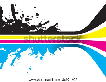cmyk splash lines with perspective