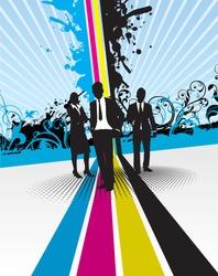 cmyk splash with business people