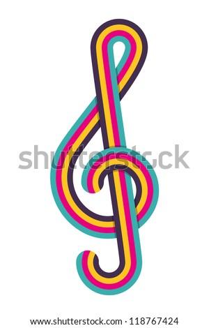Cmyk treble clef. Vector illustration.