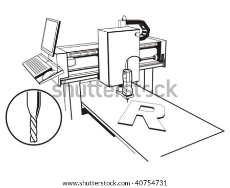 CNC milling-engraving machine. Vector illustration.