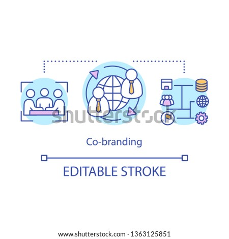 Co-branding concept icon. Business partnership idea thin line illustration. Two companies, brands cooperating. Marketing strategy. Brand management. Vector isolated outline drawing. Editable stroke