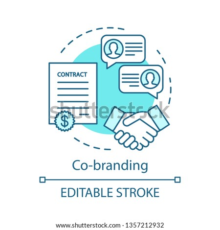 Co-branding concept icon. Two companies, brands cooperating. Business partnership idea thin line illustration. Marketing strategy. Brand management. Vector isolated outline drawing. Editable stroke