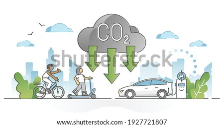 CO2 carbon dioxide emission reduction by alternative energy outline concept. Using fuel gas free transportation to decrease greenhouse level vector illustration. Environmental pure air preservation. Foto stock ©