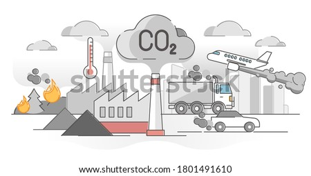 CO2 carbon dioxide emissions global air climate pollution outline concept. Transport, factories and forest fire as greenhouse effect and planet warming causes vector illustration. Urban smog scene.