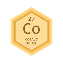 Co Cobalt Chemical Element Periodic Table. Hexagon gradient vector illustration, simple clean style Icon with molar mass and atomic number for Lab, science or chemistry education.