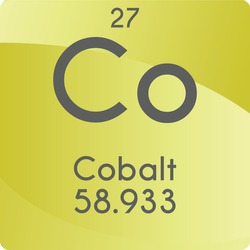 Co Cobalt Transition metal Chemical Element vector illustration diagram, with atomic number and mass. Simple gradient flat design For education, lab, science class.
