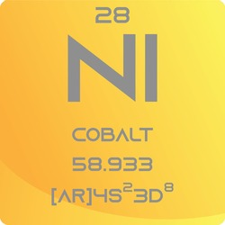 Co Cobalt Transition metal Chemical Element vector illustration diagram, with atomic number, mass and electron configuration. Simple gradient flat hexagon design for education, lab, science class.