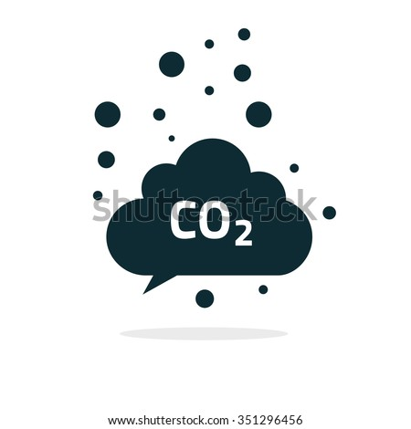 co2 emissions icon cloud vector flat, carbon dioxide emits symbol, smog pollution concept, smoke pollutant damage, contamination bubbles, garbage label, combustion products isolated modern design sign