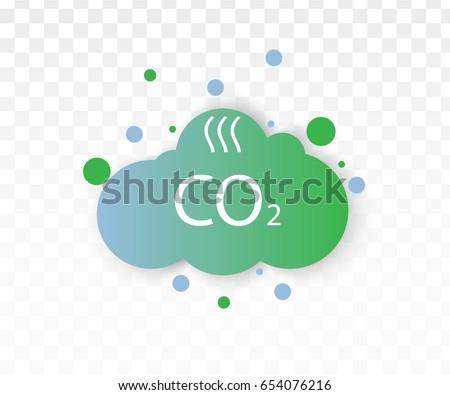 Co2 emissions icon cloud vector flat, carbon dioxide emits symbol, smog pollution concept, smoke pollutant damage
