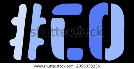 CO Hashtag. Isolate curves doodle letters. Blue colors. Hashtag #CO is abbreviation for the US American Colorado for social network, web resources, mobile apps. Photo stock ©