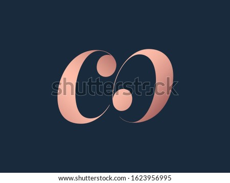 CO monogram logo.Elegant style typographic icon.Lettering sign.Alphabet initials in pink metal color isolated on dark background.Lowercase luxury letter c and letter o.Beauty characters. Foto stock ©