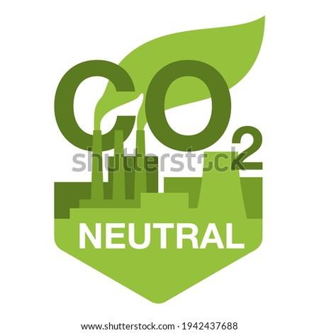 CO2 neutral. Green badge with factory silhouette, net zero carbon footprint - carbon emissions free no air atmosphere pollution industrial production eco-friendly isolated sign in creative decoration Stock photo ©