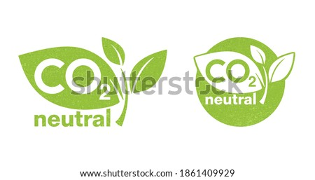 CO2 neutral green rough textured stamp - carbon emissions free (no air atmosphere pollution) industrial production eco-friendly isolated sign Stock photo ©
