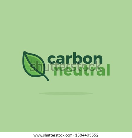 CO2 Neutral Green Vector Icon Illustration. Carbon Neutral Logo with Green Natural LeafCO2 Neutral Green Vector Icon Illustration. CO2 Neutral Logo with Green Natural Leaf