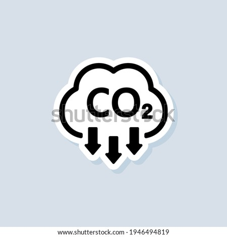 Co2 sticker. Carbon Dioxide Emissions icon or logo. co2 emissions. Vector on isolated white background. EPS 10. Foto stock ©