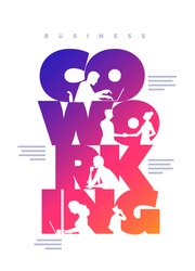 Co-working business concept poster design template. Working silhouette people using laptops and shaking hands in the colorful 'Co-working' word. Vector illustration.