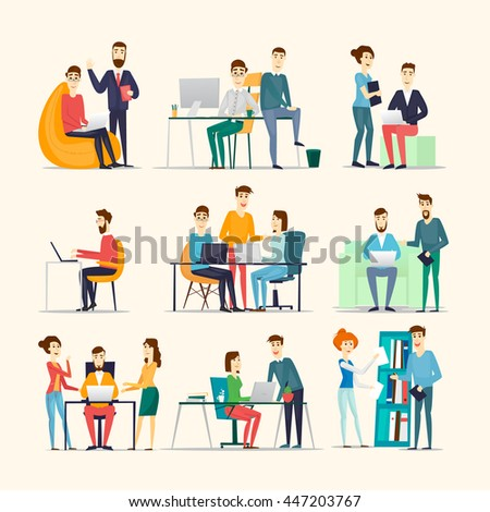 Co working people, meeting, teamwork, collaboration and discussion, conference table, brainstorm. Workplace. Office life. Various characters. Flat design vector illustration.