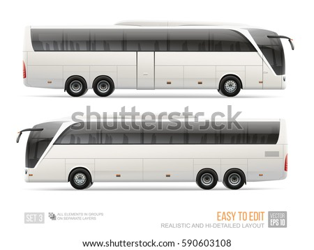 Coach Bus blank surface template isolated on white background. Realistic Vector Passenger Bus for mockup design. Hi-detailed Vehicle layout for brand identity design and advertising