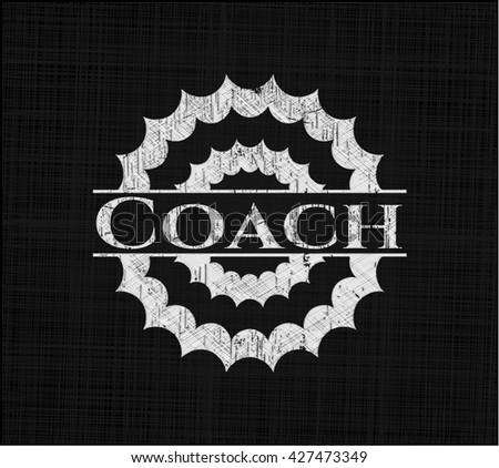 Coach chalk emblem, retro style, chalk or chalkboard texture