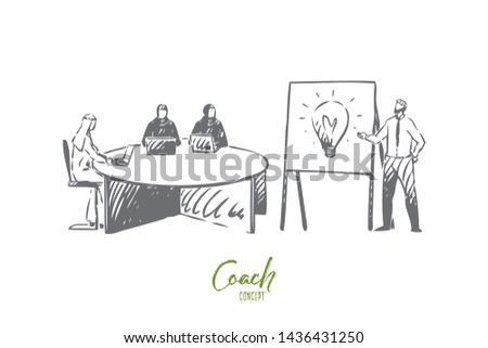 Coach concept sketch. Business partnership, arab businessman and businesswoman teamwork, economic literacy training courses, team meeting, business school banner. Isolated vector illustration