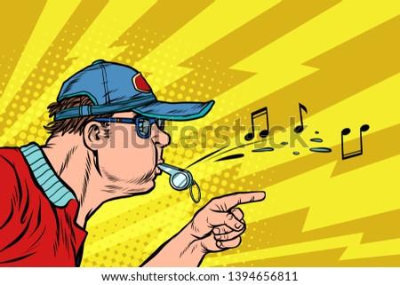 coach or referee whistles. Pop art retro vector illustration kitsch vintage