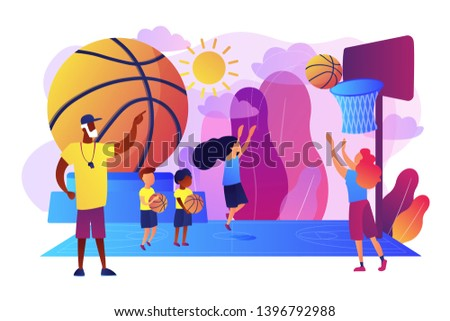 Coach teaching and kids practicing basketball in summer camp, tiny people. Basketball camp, academy, achieve basketball goals concept. Bright vibrant violet vector isolated illustration