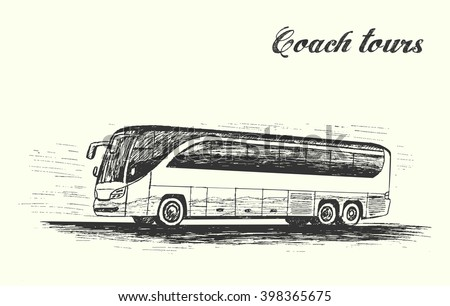 Coach tours,travel bus moving on highway,hand drawn sketch style,isolated,vector,illustration.