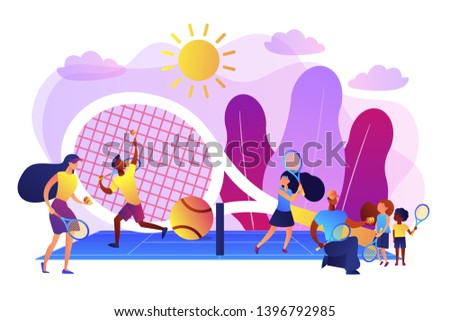 Coaches and kids on the court practicing with rackets in summer camp, tiny people. Tennis camp, tennis academy, junior tennis training concept. Bright vibrant violet vector isolated illustration