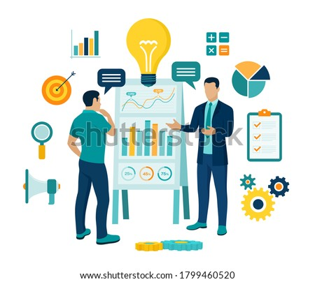 Coaching and mentoring concept. Business advise or consultation service. Businessman with personal mentor and business trainer discussing business strategy. Training courses. Vector illustration.