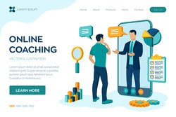 Coaching and mentoring concept. Video call to coach through the application on the smartphone. Online business advise or consultation service. Webinar, online training courses. Vector illustration.
