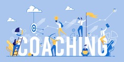 Coaching Banner. Business People Aiming Target. Marketing and Advertising. Working on Ideas. Teamwork and Training. Corporate Education. Inspirational Courses. Company Workshop. Vector EPS 10.