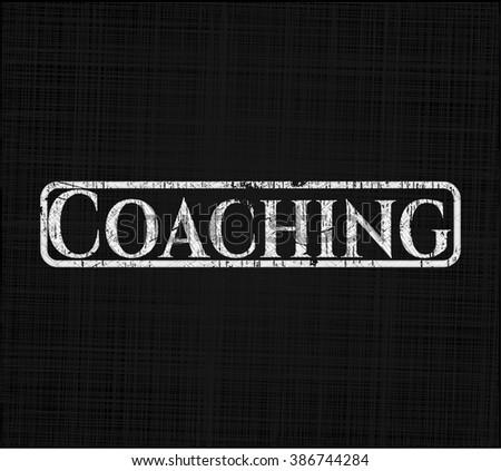 Coaching chalk emblem, retro style, chalk or chalkboard texture
