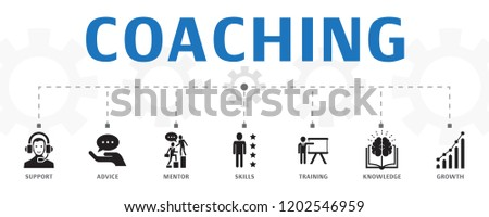 coaching concept template. Horizontal banner. Contains such icons as support, mentor, skills, training