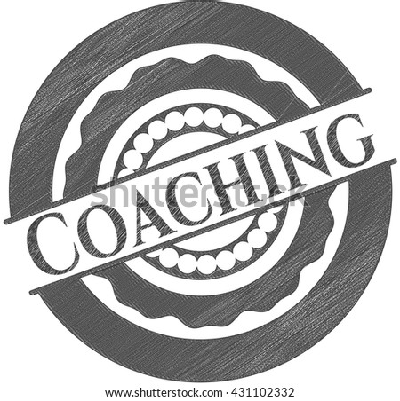 Coaching emblem draw with pencil effect